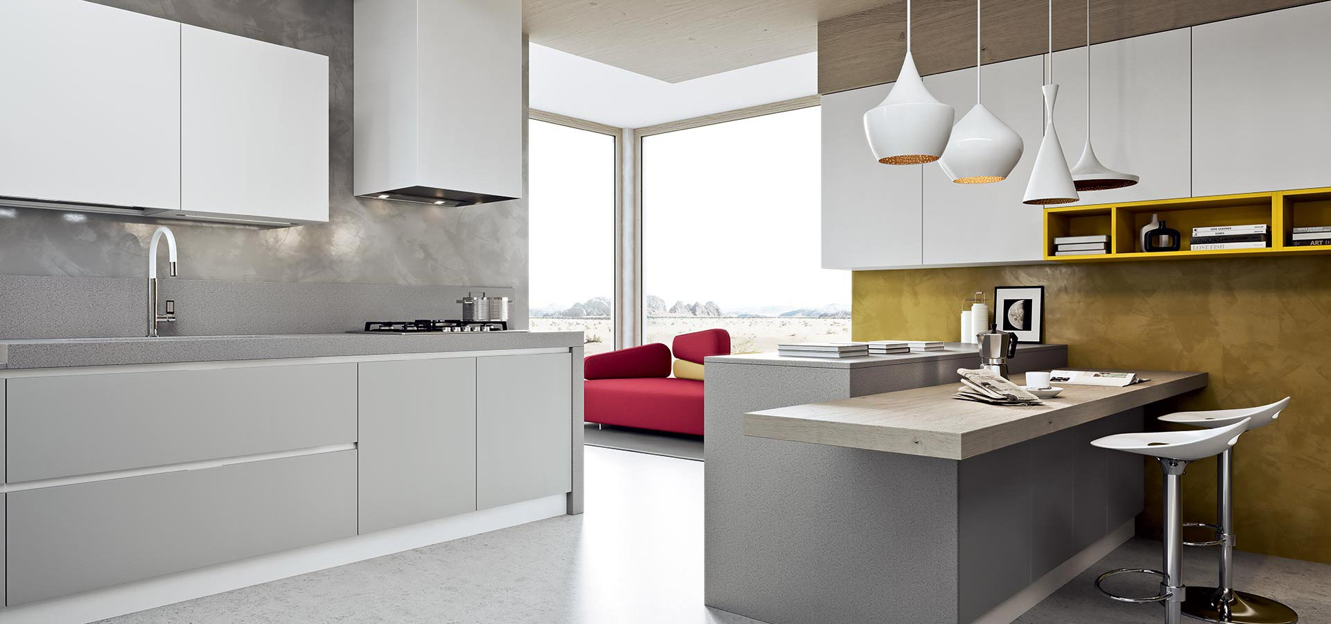 Cucina moderna bianca e grigia qn92 regardsdefemmes for Top arredo